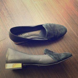 Aldo Black Flats with gold heel